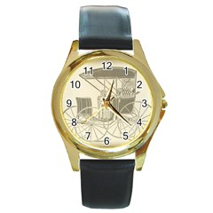 Vintage 979514 1280 Round Gold Metal Watch
