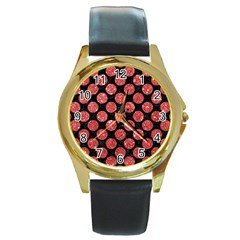 Circles2 Black Marble & Red Glitter (r) Round Gold Metal Watch