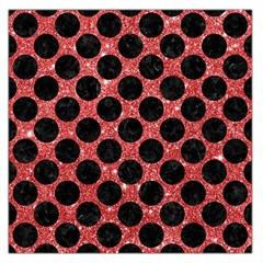 Circles2 Black Marble & Red Glitter Large Satin Scarf (square)