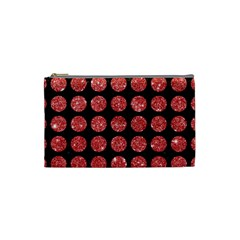Circles1 Black Marble & Red Glitter (r) Cosmetic Bag (small)