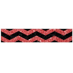 Chevron3 Black Marble & Red Glitter Large Flano Scarf