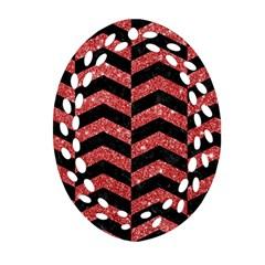 Chevron2 Black Marble & Red Glitter Ornament (oval Filigree)