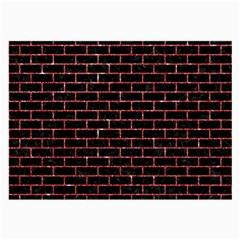 Brick1 Black Marble & Red Glitter (r) Large Glasses Cloth (2 Side)
