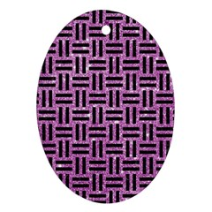Woven1 Black Marble & Purple Glitter Oval Ornament (two Sides)