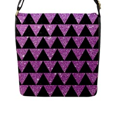 Triangle2 Black Marble & Purple Glitter Flap Messenger Bag (l)