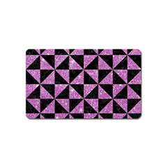 Triangle1 Black Marble & Purple Glitter Magnet (name Card)
