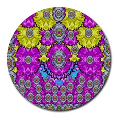 Fantasy Bloom In Spring Time Lively Colors Round Mousepads