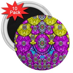 Fantasy Bloom In Spring Time Lively Colors 3  Magnets (10 Pack)