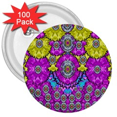 Fantasy Bloom In Spring Time Lively Colors 3  Buttons (100 Pack)