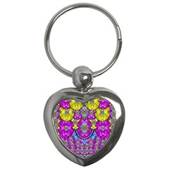 Fantasy Bloom In Spring Time Lively Colors Key Chains (heart)
