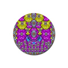 Fantasy Bloom In Spring Time Lively Colors Rubber Coaster (round)