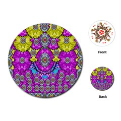 Fantasy Bloom In Spring Time Lively Colors Playing Cards (round)