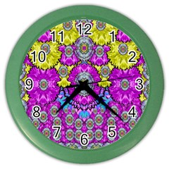 Fantasy Bloom In Spring Time Lively Colors Color Wall Clocks