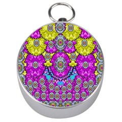 Fantasy Bloom In Spring Time Lively Colors Silver Compasses