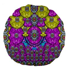 Fantasy Bloom In Spring Time Lively Colors Large 18  Premium Flano Round Cushions