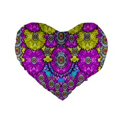 Fantasy Bloom In Spring Time Lively Colors Standard 16  Premium Flano Heart Shape Cushions