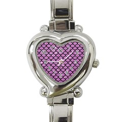 Scales1 Black Marble & Purple Glitter Heart Italian Charm Watch