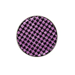 Houndstooth2 Black Marble & Purple Glitter Hat Clip Ball Marker (4 Pack)