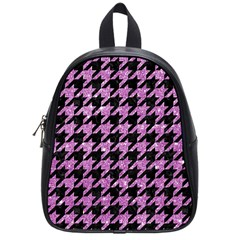Houndstooth1 Black Marble & Purple Glitter School Bag (small)