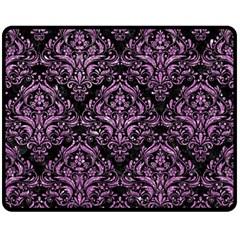 Damask1 Black Marble & Purple Glitter (r) Fleece Blanket (medium)