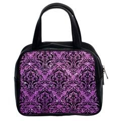 Damask1 Black Marble & Purple Glitter Classic Handbags (2 Sides)