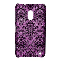 Damask1 Black Marble & Purple Glitter Nokia Lumia 620