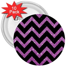 Chevron9 Black Marble & Purple Glitter (r)chevron9 Black Marble & Purple Glitter (r) 3  Buttons (10 Pack)