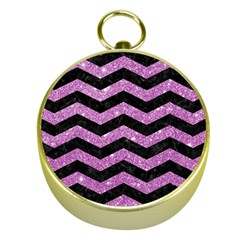 Chevron3 Black Marble & Purple Glitter Gold Compasses