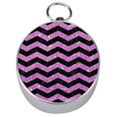 Chevron3 Black Marble & Purple Glitter Silver Compasses