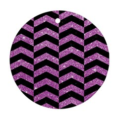 Chevron2 Black Marble & Purple Glitter Ornament (round)