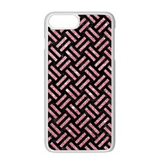 Woven2 Black Marble & Pink Glitter (r) Apple Iphone 8 Plus Seamless Case (white)