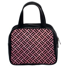 Woven2 Black Marble & Pink Glitter Classic Handbags (2 Sides)