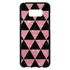 Triangle3 Black Marble & Pink Glitter Samsung Galaxy S8 Plus Black Seamless Case