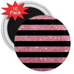 Stripes2black Marble & Pink Glitter 3  Magnets (10 Pack)