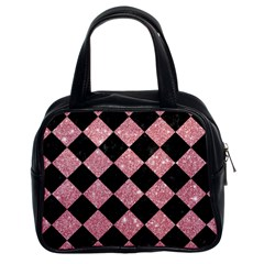 Square2 Black Marble & Pink Glitter Classic Handbags (2 Sides)