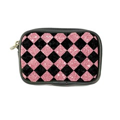 Square2 Black Marble & Pink Glitter Coin Purse