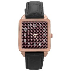 Scales3 Black Marble & Pink Glitter (r) Rose Gold Leather Watch
