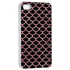 Scales1 Black Marble & Pink Glitter (r) Apple Iphone 4/4s Seamless Case (white)