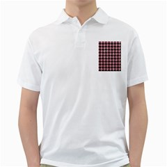 Houndstooth1 Black Marble & Pink Glitter Golf Shirts