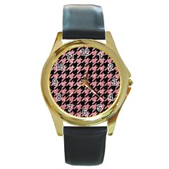 Houndstooth1 Black Marble & Pink Glitter Round Gold Metal Watch