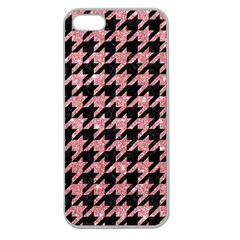 Houndstooth1 Black Marble & Pink Glitter Apple Seamless Iphone 5 Case (clear)