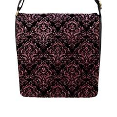 Damask1 Black Marble & Pink Glitter (r) Flap Messenger Bag (l)