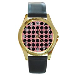 Circles1 Black Marble & Pink Glitter Round Gold Metal Watch