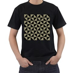 Triangle1 Black Marble & Khaki Fabric Men s T Shirt (black)