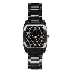 Tile1 Black Marble & Khaki Fabric (r) Stainless Steel Barrel Watch