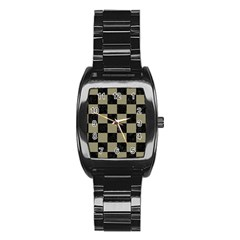 Square1 Black Marble & Khaki Fabric Stainless Steel Barrel Watch
