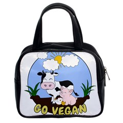 Friends Not Food   Cute Pig And Chicken Classic Handbags (2 Sides)