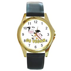 Friends Not Food   Cute Pig And Chicken Round Gold Metal Watch