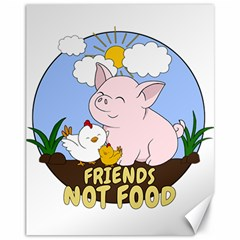 Friends Not Food   Cute Pig And Chicken Canvas 11  X 14