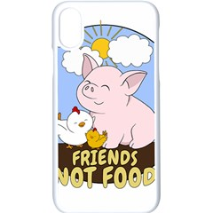 Friends Not Food   Cute Pig And Chicken Apple Iphone X Seamless Case (white)